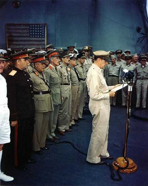 "Surrender of Japan, Tokyo Bay, 2 September 1945 The photo bore the subtext ""Photo # USA C-2717 Gen. MacArthur speaking, 2 Sept. 1945"""