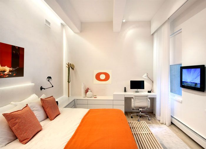 New York Duplex Apartment By Ghislaine Vinas Interior Design Master Bedroom Orange