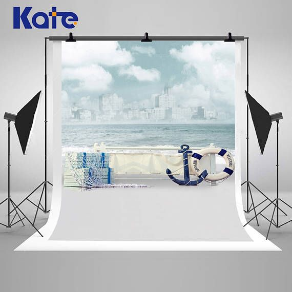Kate Beach Photography Backdrops Waves Clouds Sea Canoe Backgrounds mini Backdrop for Children Photo Studio LK-1615