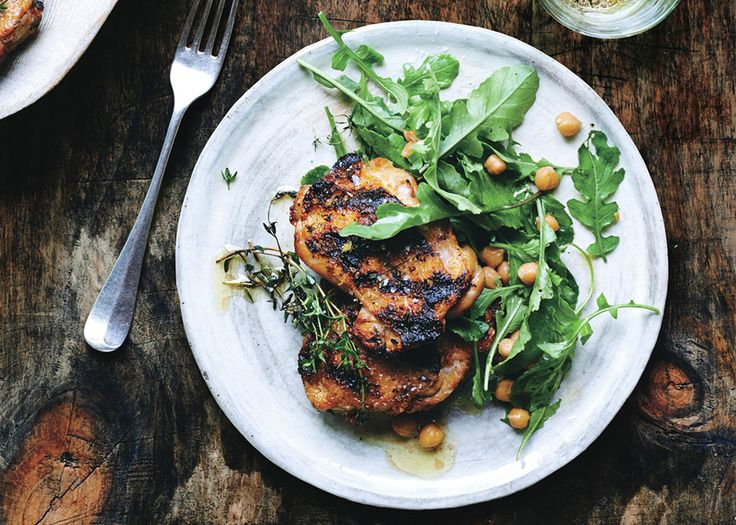 Grilled Chicken with Arugula and Warm Chickpeas Recipe - Bon Appétit