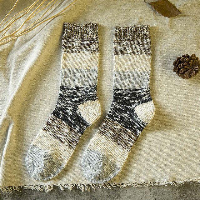 Japanese Novetly Retro Knit Knee Socks Kawaii Women Patchwork Tube Socks Winter All-match Cotton Sock Cute