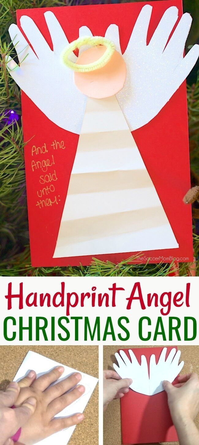 Religious Christmas Cards For Children.Handprint Angel Christmas Card December Activities For