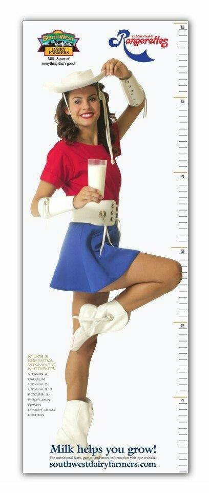 6 foot tall growth chart featuring a Kilgore Rangerette as part of the new Southwestern Dairy Farmers promo to drink milk