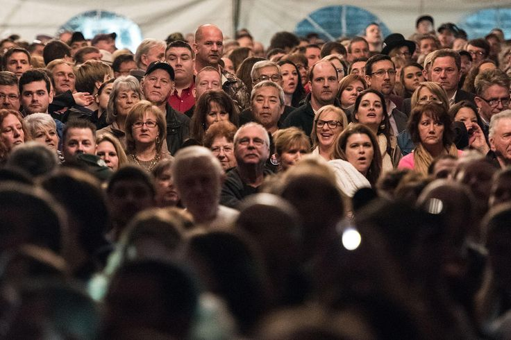 PEOPLE WAITING FOR SOMETHING TO HAPPEN An overflow crowd of people wait for Donald Trump at a campaign rally Jan. 27, 2016 in Gilbert, S.C. (Photo by Sean Rayford/Getty)