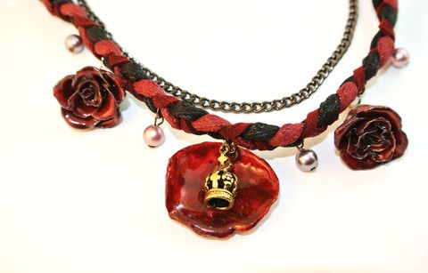 Rose and Crown Necklace Sarah Blue real flower jewellery collections