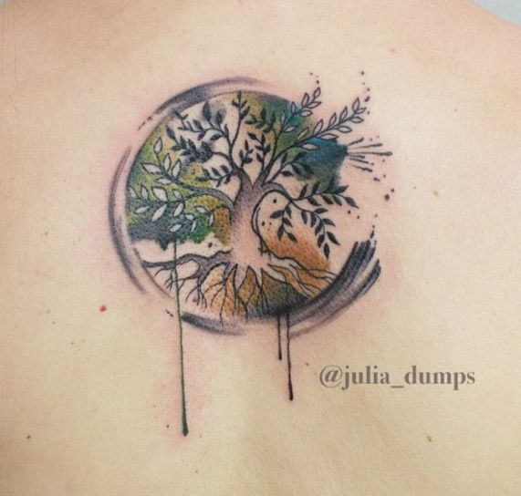 Compact watercolor tattoo by Julia Dumps, Austria