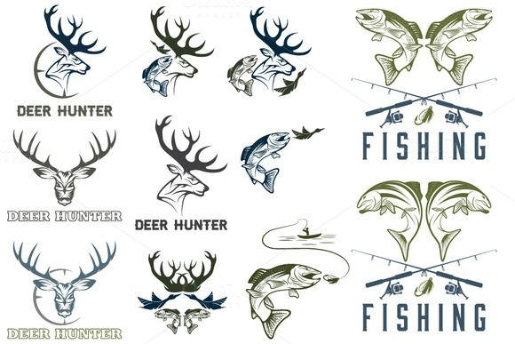 Fishing and hunting labels by UVAconcept on @creativemarket