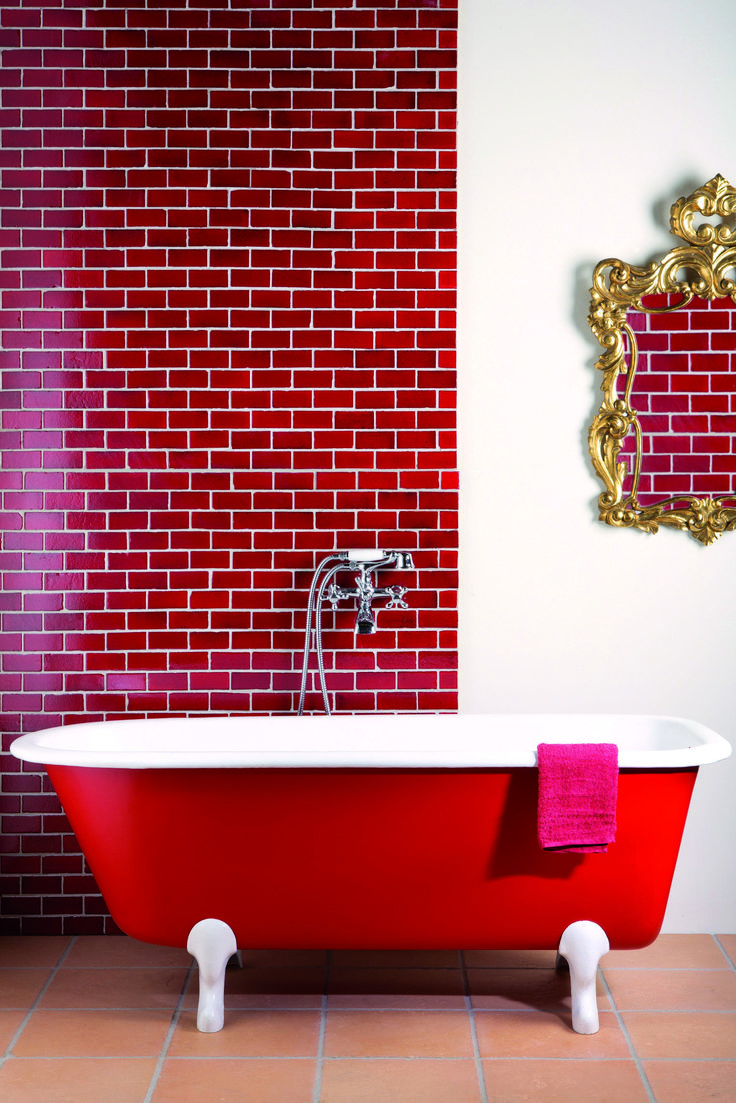 53 best images about red tile on pinterest mosaics for Red bathroom tiles design