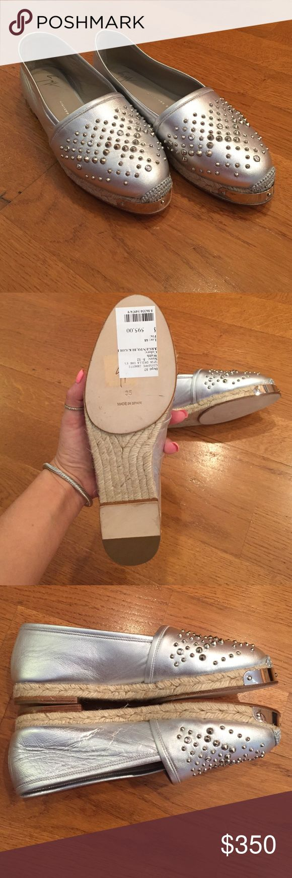 Giuseppe Zanotti Silver Espadrilles Brand new flats. With studs on front. In excellent condition. Beautiful on. NWT. Comes with original box and bag. Giuseppe Zanotti Shoes Espadrilles