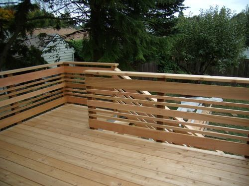 Horizontal deck railing.                                                                                                                                                                                 More