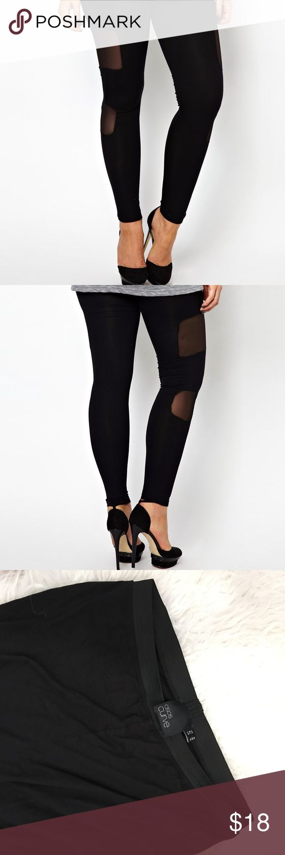 ASOS Curve Legging with Mesh 2 mesh panels on each leg! Comfy legging in gently loved used condition! Stretchy / 95%viscose 5%elastane ASOS Curve Pants Leggings