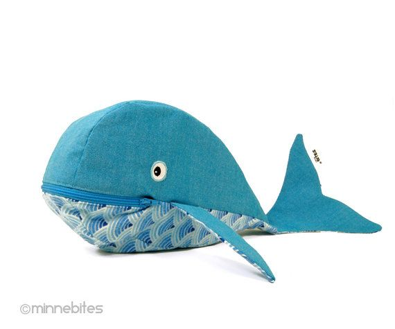 Light Blue Whale by MinneBites / Handmade Blue Whale Ocean Tote - Kids Zipper Pouch - School Supplies - Travel Kit - Toddler Overnight Bag