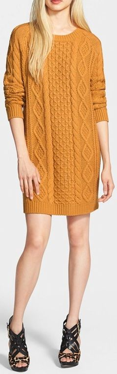 Cosy cable knit sweater dress. women fashion outfit clothing style apparel @roressclothes closet ideas
