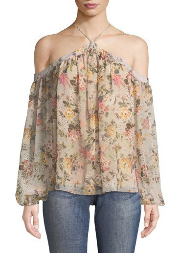 """Inamorata Halter Floral-Print Chiffon Top by Bailey 44. Bailey 44 """"Inamorata"""" floral-print chiffon top. Off-the-shoulder neckline. Halter ties behind neck. Cold shoulders; long sleeves. Billowy fit. Slipover style. Polyester. Lining, rayon/spandex. Made in USA of imported materials. #bailey44"""