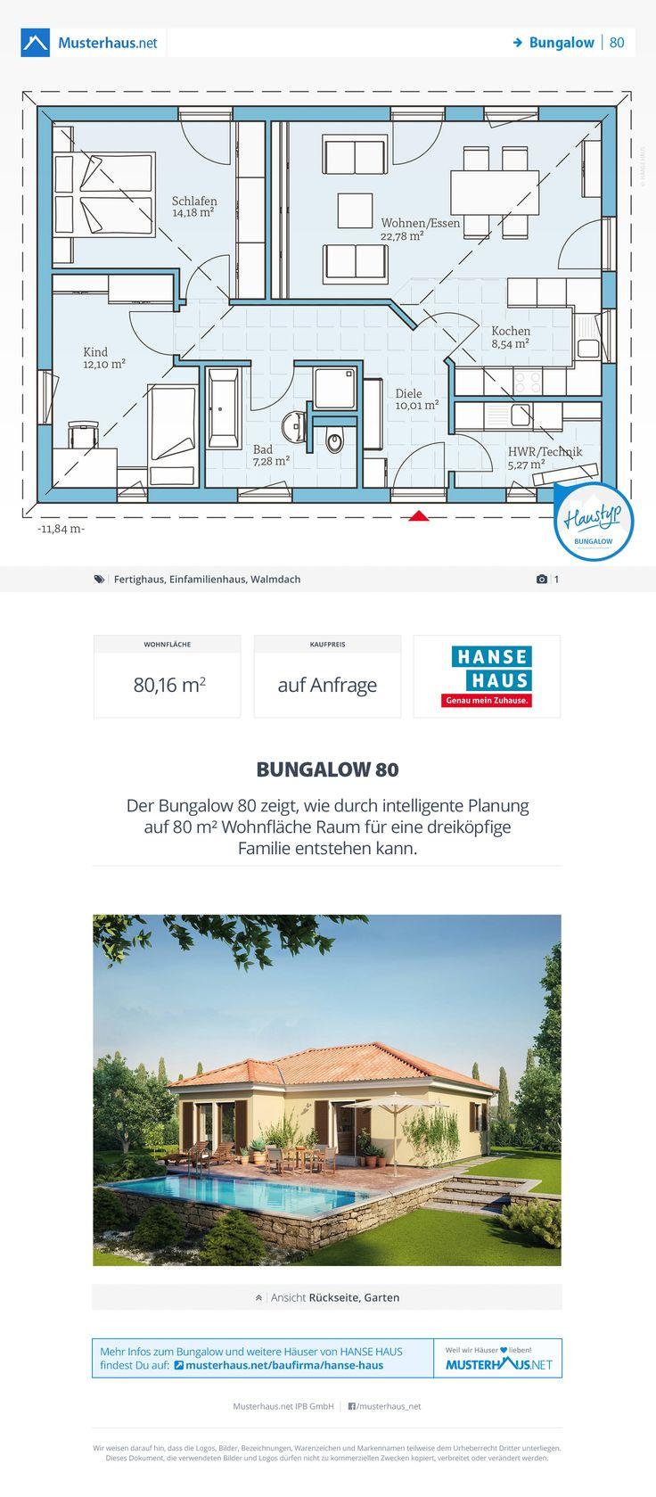 Bungalow Grundriss, 80 M², Offene Küche