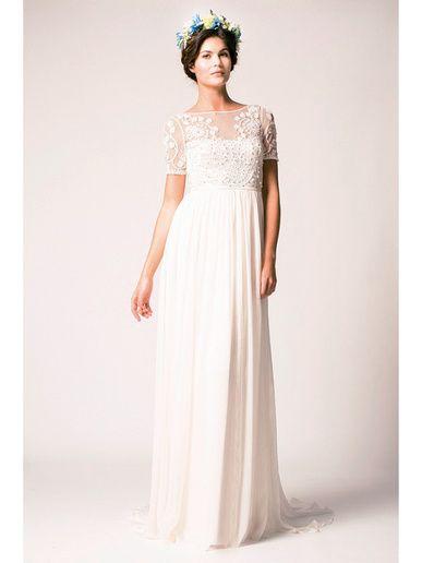 ≪テンパリー・ロンドン≫Temperley London デコルテに施されたアップリケ&ビーディングが上品なスレンダードレス。