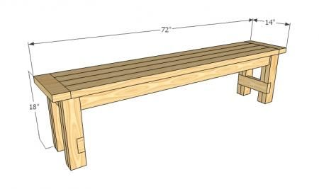 plans to make an easy DIY bench from ana-white.com. Would be easy to change length to fit the space.