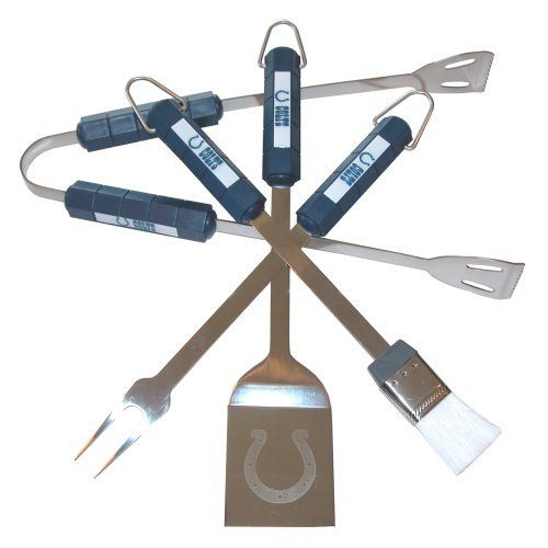 Siskiyou Sports  Indianapolis Colts  4 pc NFL BBQ Set by SISKIYOU. $24.95. 4 Stainless Steel Tools. Officially Licensed NFL product. Spatula, Baster, Thongs and BBQ Fork included. The stainless steel 4 pc BBQ set includes a BBQ fork, spatula, baster, and thongs. Each piece is made of stainless steel and features a colored handle in the teams primary color with the team logo. The spatula features a laser etched team logo.. Save 38%!