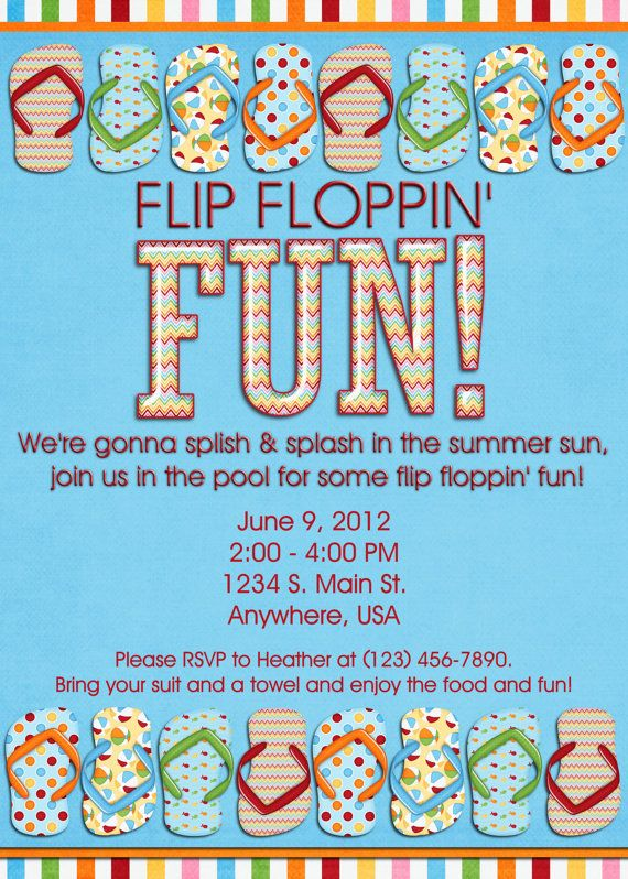 Pool Party Invitation - Flip Flops, Swimming, Birthday ...