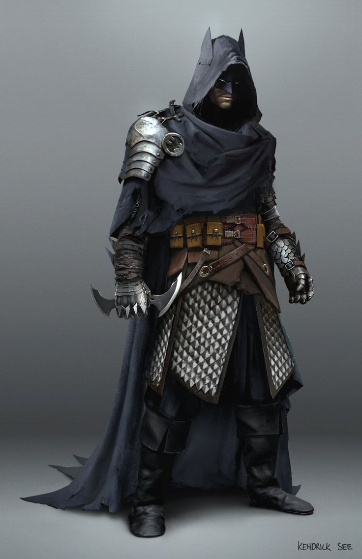 Medieval Batman by SourShade rogue assassin thief dark knight fighter cloak mask hood hooded armor clothes clothing fashion player character npc   Create your own roleplaying game material w/ RPG Bard: www.rpgbard.com   Writing inspiration for Dungeons and Dragons DND D&D Pathfinder PFRPG Warhammer 40k Star Wars Shadowrun Call of Cthulhu Lord of the Rings LoTR + d20 fantasy science fiction scifi horror design   Not Trusty Sword art: click artwork for source