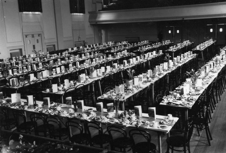 Dorking Halls' Grand Hall decked out for a function. We wish we knew what was on the menu!