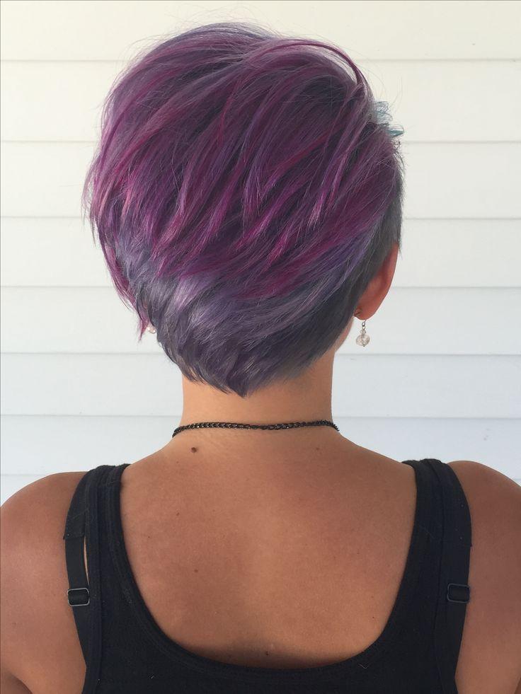back purple blue silver lavender pixie fun cute hairstyle ...