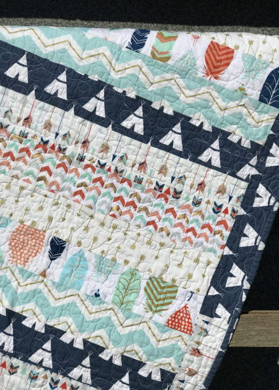 ON SALE! Rustic Baby Quilt, Boy Girl Crib Bedding, Tribal Aztec Blanket, Arrows Feathers Teepee Nursery Decor, Woodland, Aqua Coral Mint Gold Shimmer, by Farmhouse Quilts on etsy.com/shop/MyFarmhouseQuilts
