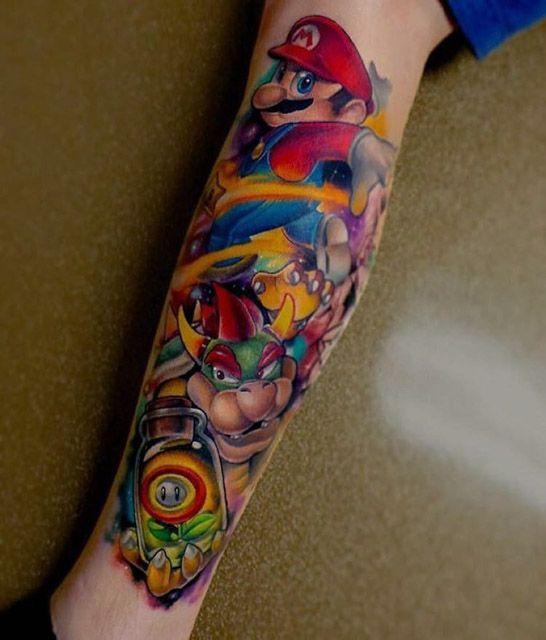 Leg Super Mario Tattoo Sleeve