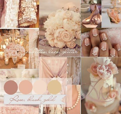 Rose, blush, ivory, gold, creams, white, champagne, peach, nude, silver? pearls, crystal, lace..