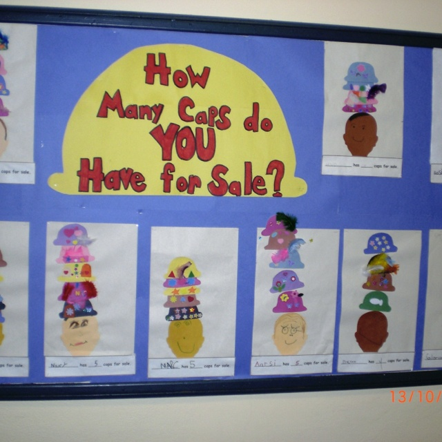 """Idea for a learning activity after reading """"caps for sale"""" to kindergardeners."""