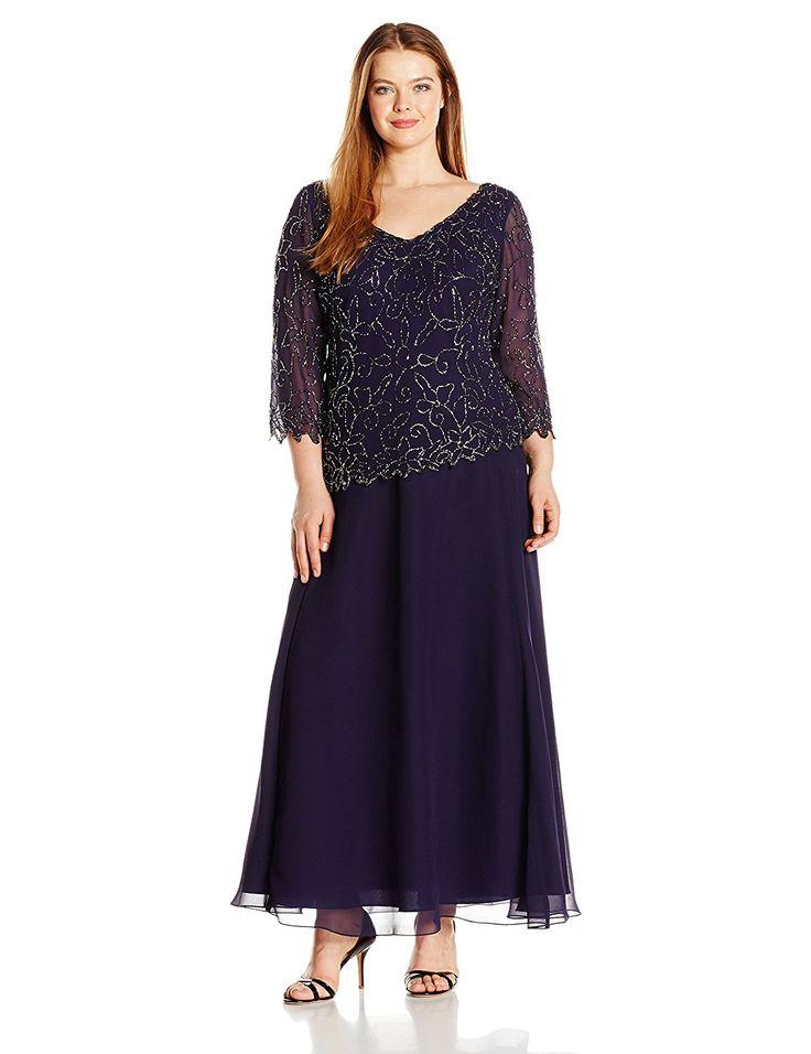Plus Size Wedding Guest Dresses With Sleeves   J Kara Womenu0027s Plus Size  V Neck