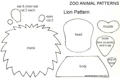 Zoo Animal Free Paper Piecing Patterns for Scrapbooking - Lion Pattern for Scrapbooks