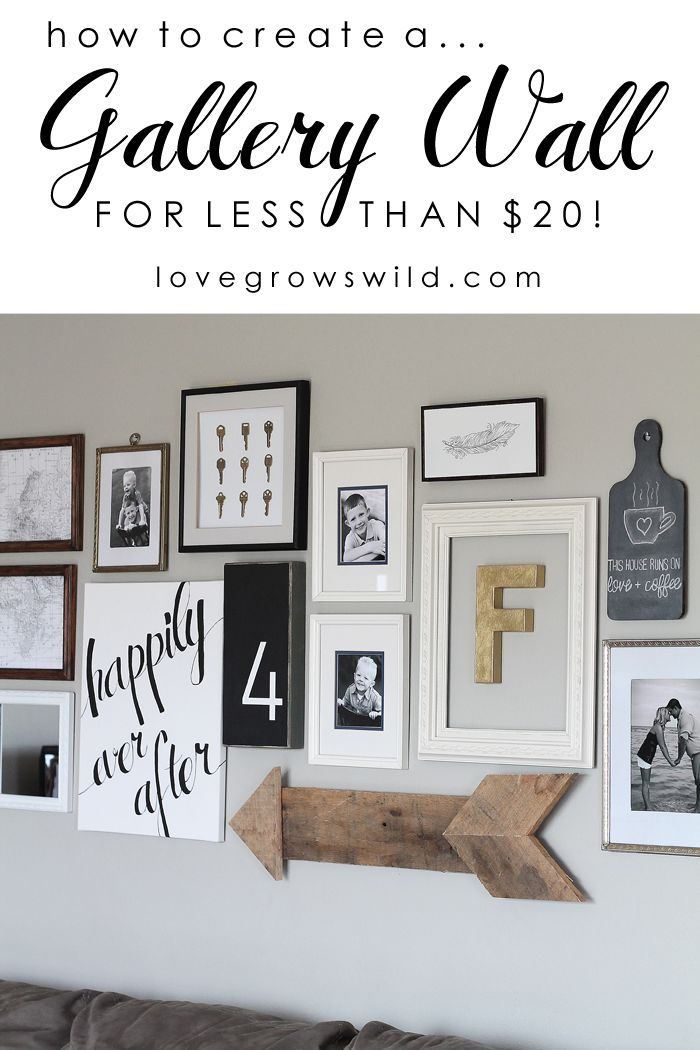 Learn how to create a fun, personal, and creative Gallery Wall for LESS THAN $20!