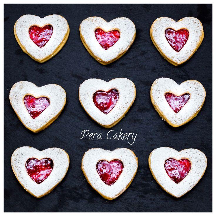 Heart shape linzer cookies