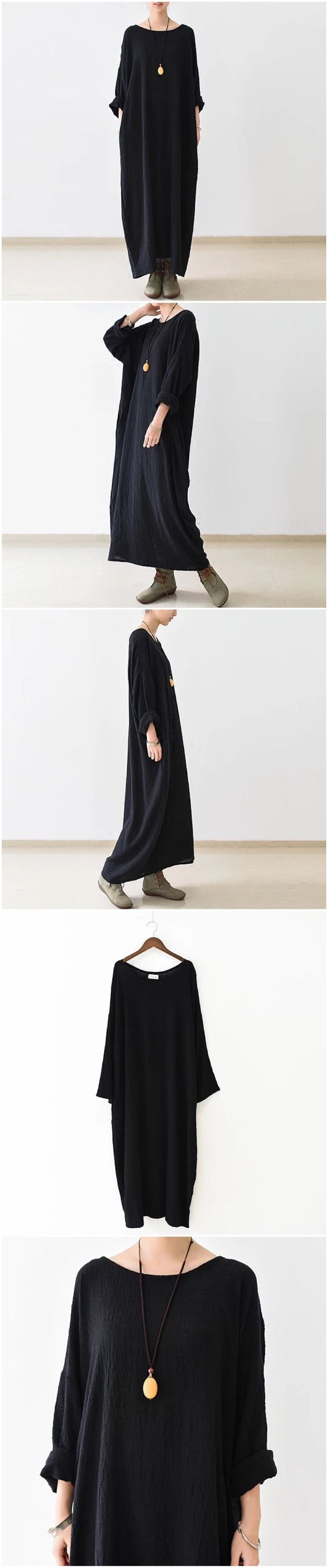 Fabric: Fabric has some stretch Season: Autumn, Spring, Winter Type: Dress Pattern Type: Plain Sleeve Length: Long Sleeve Color: Black Dresses Length:Maxi Style: Casual Material: Cotton & Linen Neckli
