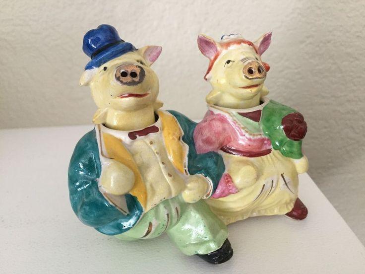 EXC Vintage WALKING PIGS Nodders Salt & Pepper Shakers Anthropomorphic Japan  | eBay