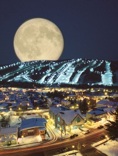 Moon at St. Sauveur, Quebec. So stinkin' beautiful...  - we spent every weekend in St Sauveur skiing from age 4/5 until forever... Domain Allerie was the most fun place ever!