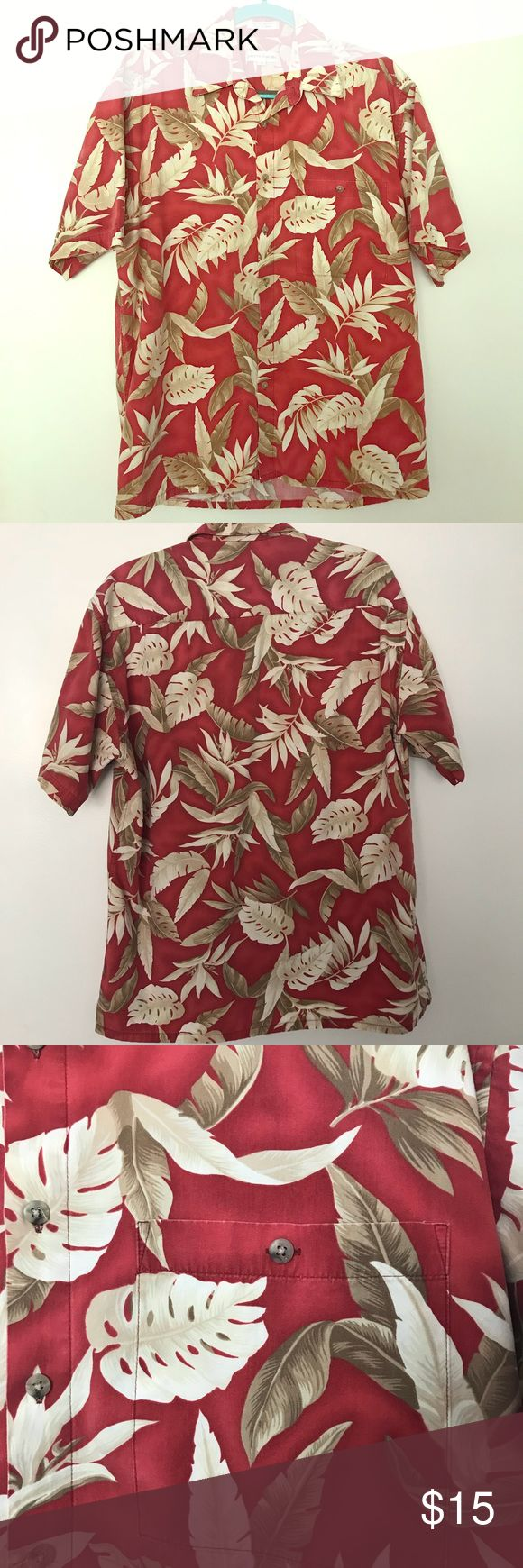 """Pierre Cardin Tropical Short Sleeve Shirt Pierre Cardin Tropical Short Sleeve Shirt. 100% cotton, button up. Orange/tan/taupe/brown. Chest 24"""" across and length is 28"""". Good condition. Pierre Cardin Shirts Casual Button Down Shirts"""