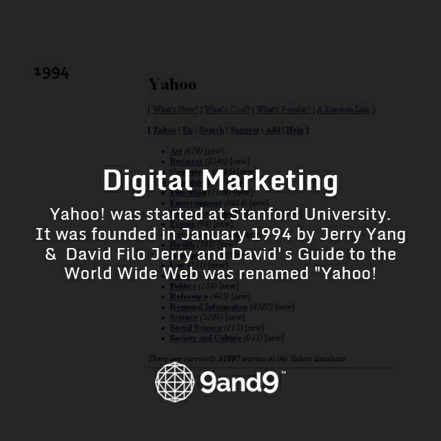 "#Yahoo! was started at Stanford University. It was founded in January 1994 by Jerry Yang and David Filo Jerry and David's Guide to the World Wide Web was renamed ""Yahoo! #HistoryofDigitalMarketing"