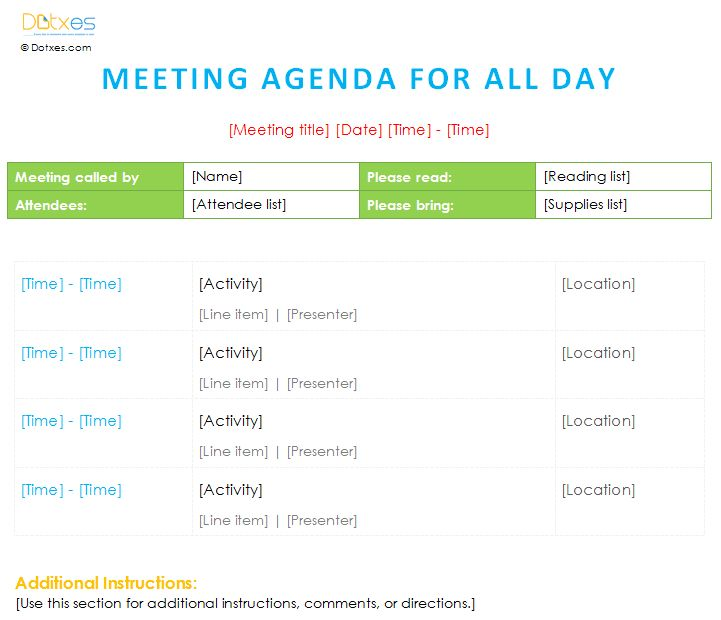 Meeting agenda template with all day schedule Agenda Templates - meeting agenda template word