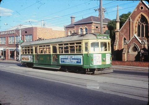 Tram W7.1006, on a Monash Railway Club tour, passes the former Weslayan Church (illegally demolished after fire), Mt Alexander Rd Flemington, Melbourne, Sun 16 May 1971