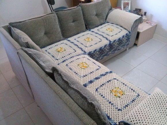 Capa em barbante para sofá de canto  medidas 214cm  214cm externos 54cm de largura, detalhes clique e veja no site de origem. R$ 200,00