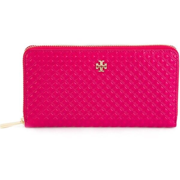 Tory Burch Marion Zip Around Wallet ($250) ❤ liked on Polyvore featuring bags, wallets, fuxia, pink wallet, genuine leather wallet, zip-around wallet, leather wallet and zipper bag