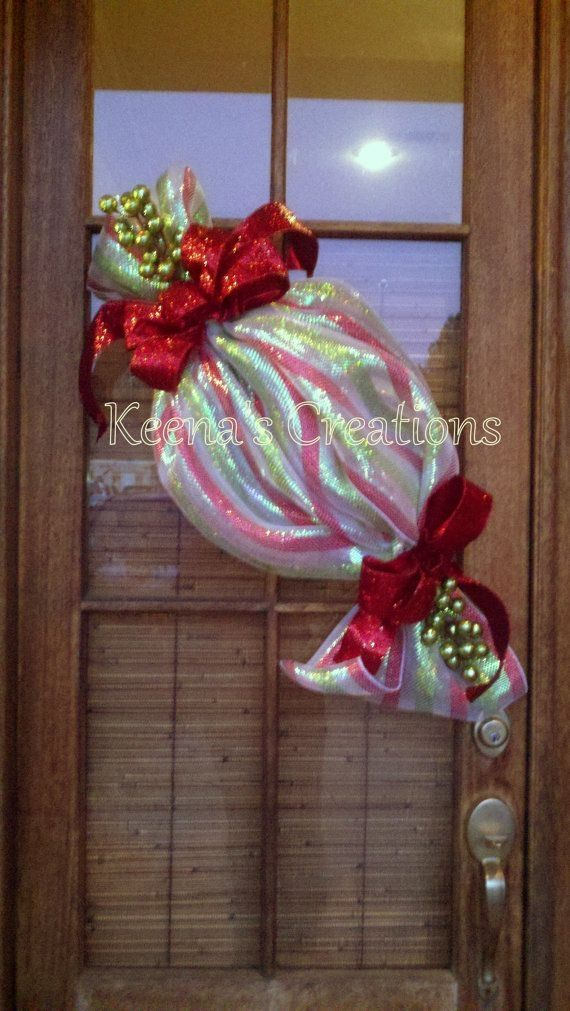 Christmas Candy Deco Mesh Wreath found on Etsy by hazel jane