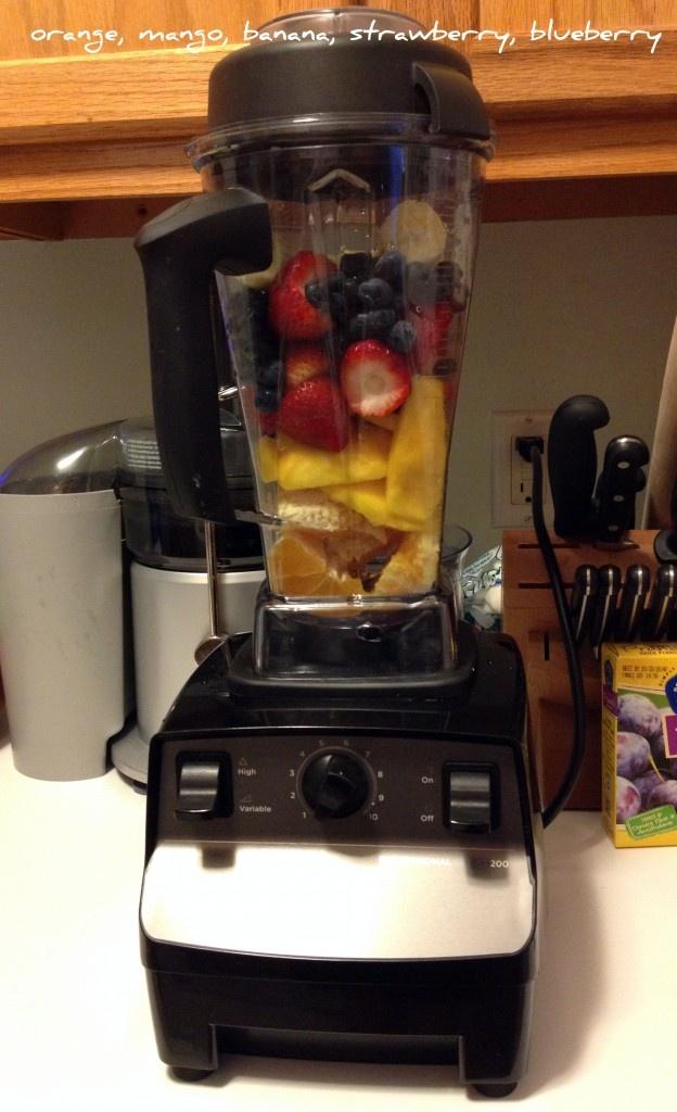 Smoothie of the Day:  orange, mango, strawberry, blueberry, banana