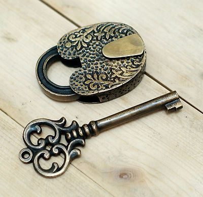 Antique+Flowers+Carved+PADLOCK+with+BIG+SKELETON+Keys+Solid+Brass+Vintage+Lock