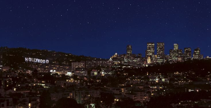 hollywood sign at night images   Stock Photo - Hollywood hills with Hollywood sign and stars at night