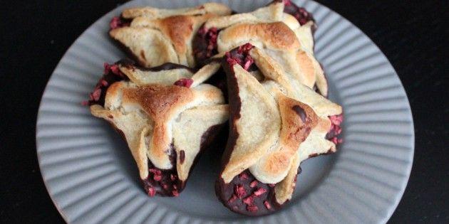 Lækre napoleonshatte med frysetørret hindbær.