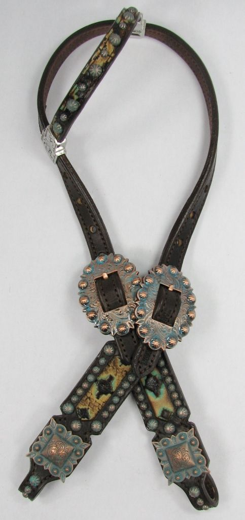 Aztec Tribal SHORT GAG Headstall with Copper Patina Verdigris Conchos by Running Roan Tack