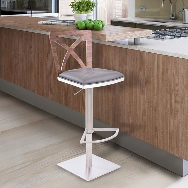 Armen Living Pisa Adjustable Swivel Barstool In Brushed Stainless Steel  Finish And Walnut Back